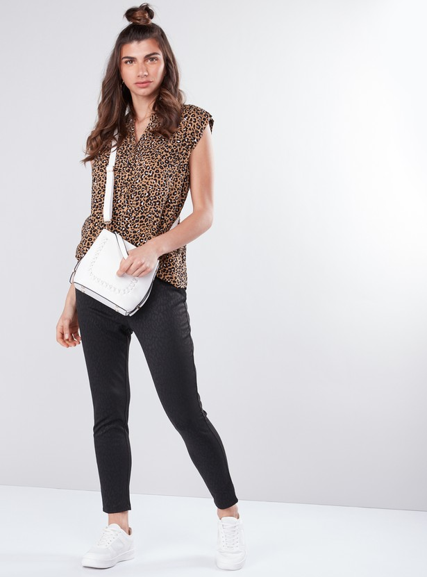 Printed Sleeveless Top in Regular Fit with V-Neck