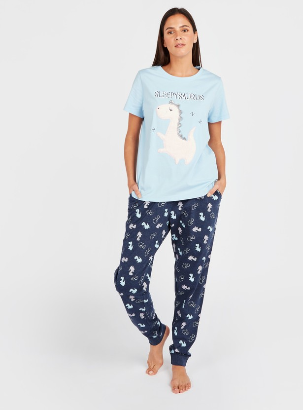 Sleepysaurus Print Short Sleeves T-shirt and Pyjamas Set