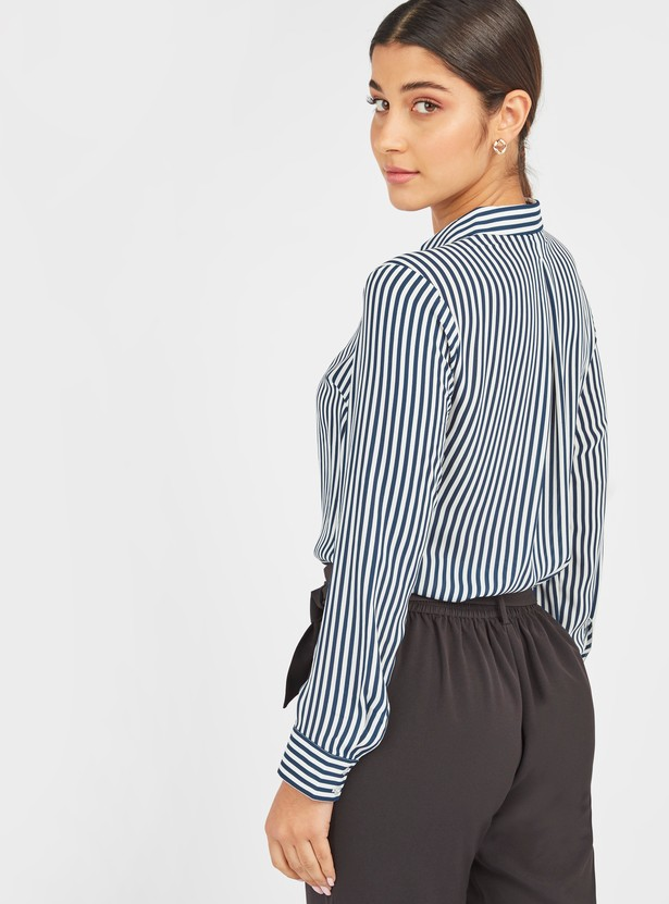 Striped Top with Long Sleeves and Ruffle Detail
