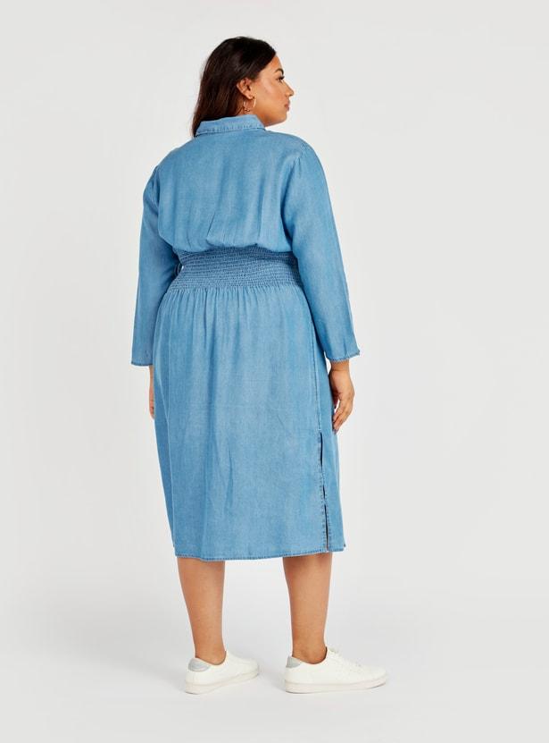 فستان قصير سادة إيه لاين دينم بأكمام طويلة وأربطة