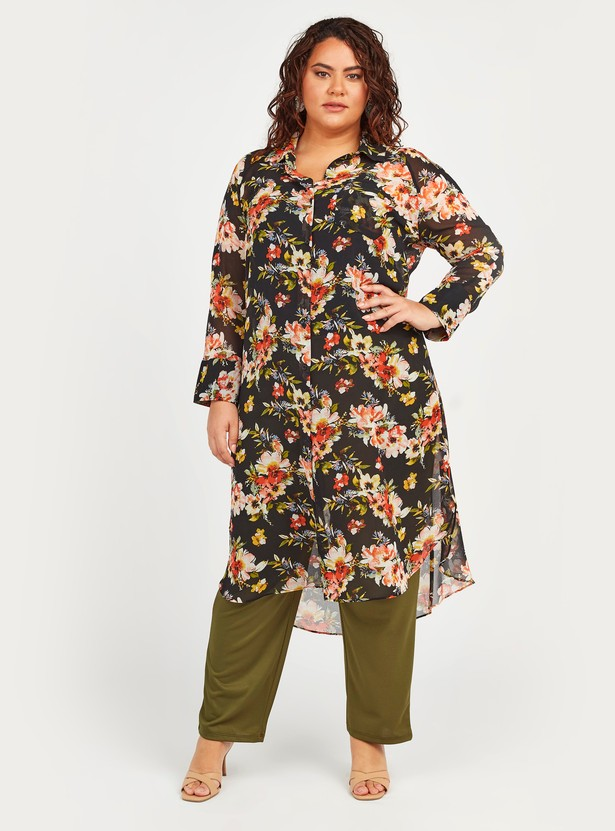 Floral Print Tunic with Spread Collar and Long Sleeves