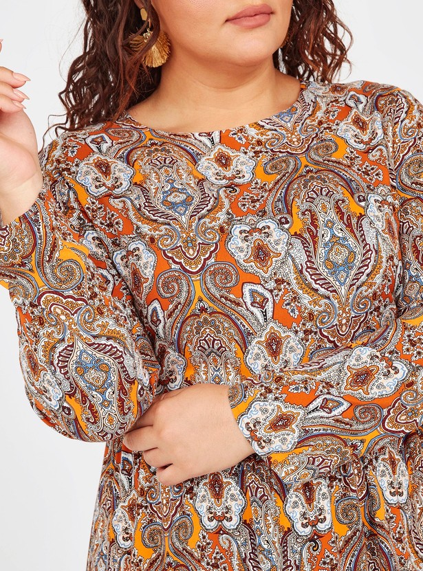 Printed Maxi A-line Dress with Round Neck and Long Sleeves