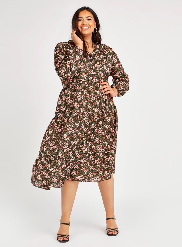 Printed Dress with V-neck and Bishop Sleeves