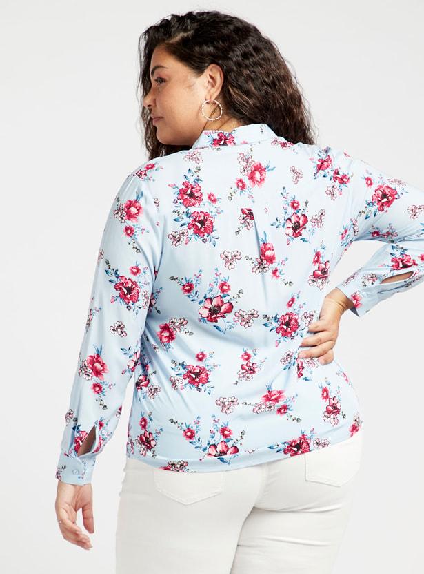 قميص بياقة عادية وأكمام طويلة وطبعات زهرية تزينه بالكامل
