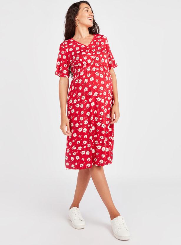 فستان حوامل متوسط الطول بطبعات أزهار وأكمام قصيرة