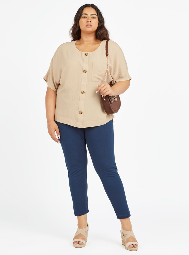Textured Top with Round Neck and Chest Pocket