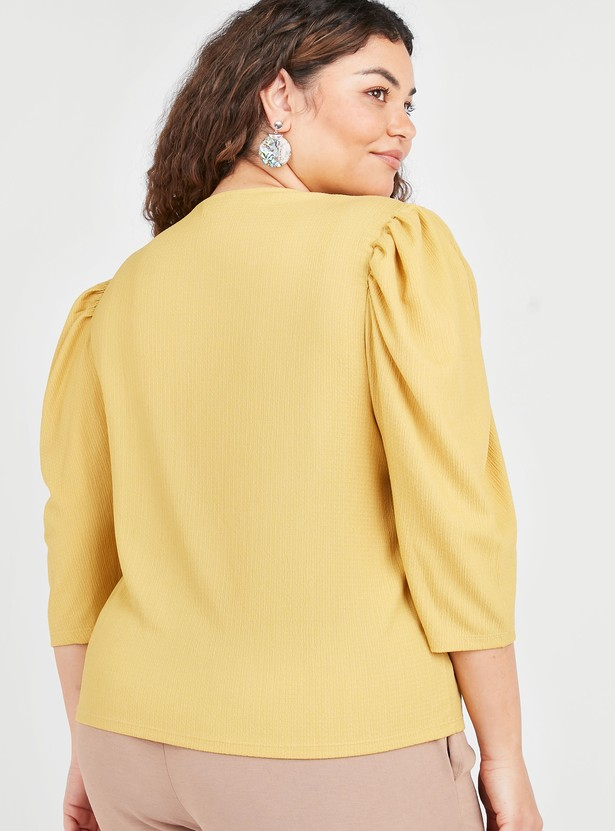 Textured Top with Round Neck and 3/4 Ruffled Sleeves