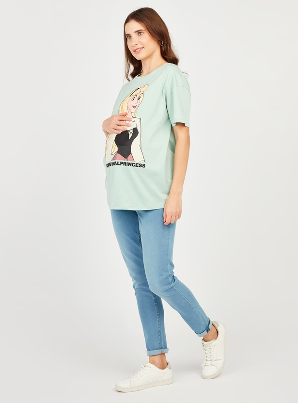 Princess Print Maternity T-shirt with Round Neck and Short Sleeves