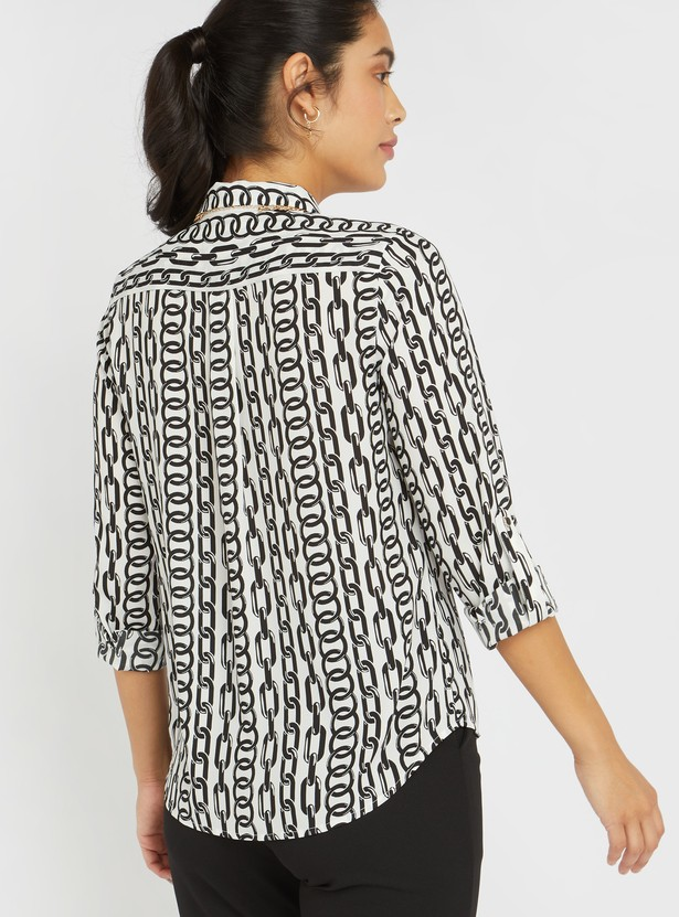 All Over Print Shirt with Long Sleeves