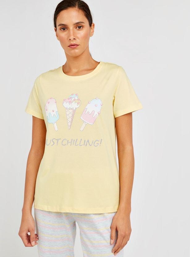 Graphic Print T-shirt and Striped Pyjama Set