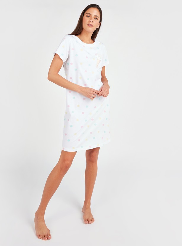 Printed Sleep Dress with Round Neck and Short Sleeves
