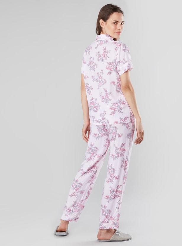 Floral Prints Shirt and Pocket Detail Pyjama Set