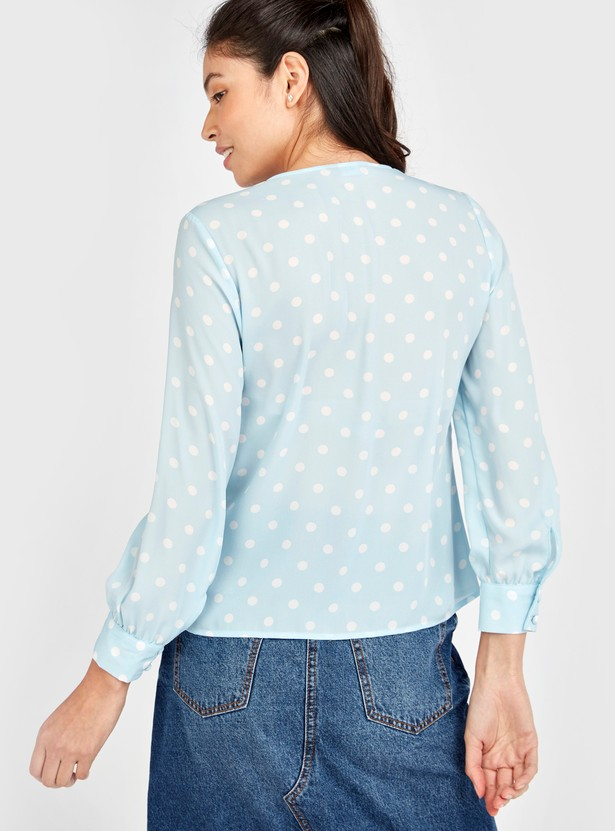 Polka Dot Print Top with V-neck and Long Sleeves