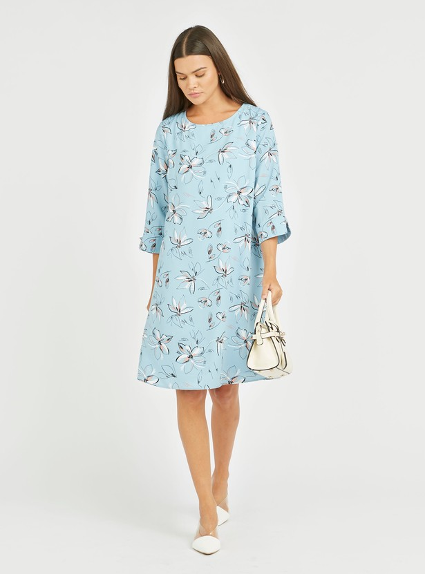 All Over Printed Midi A-line Dress with 3/4 Sleeves