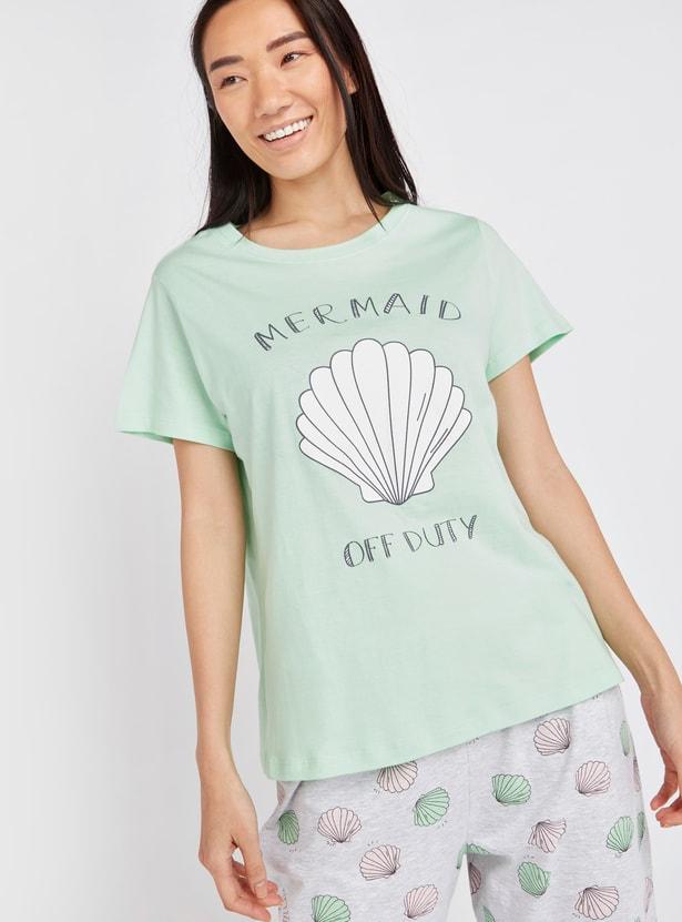 Shell Print Short Sleeves T-shirt with Full Length Pyjama Set