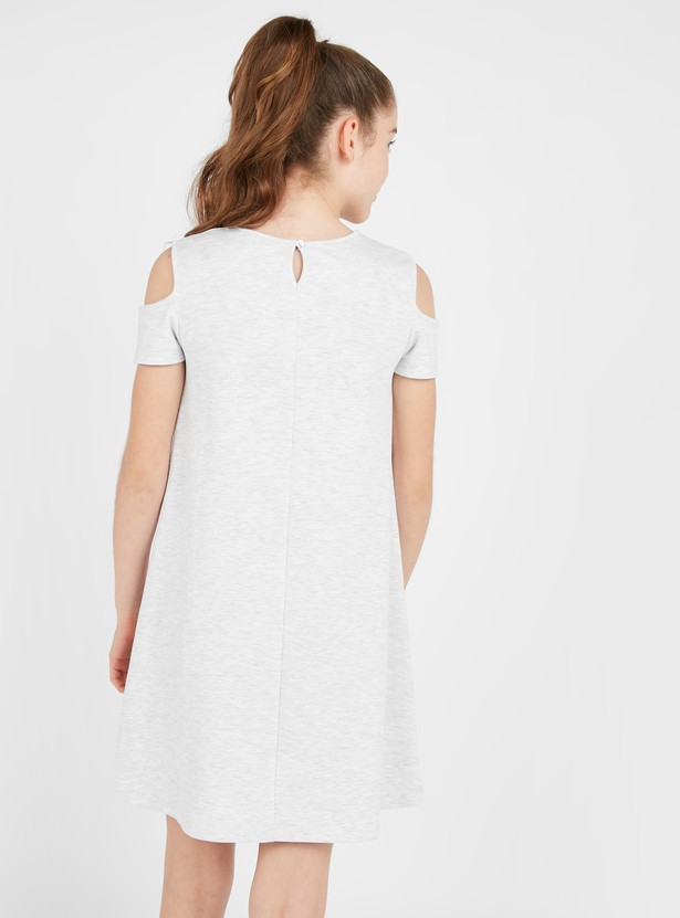 Embellished Unicorn Cold Shoulder Dress with Round Neck
