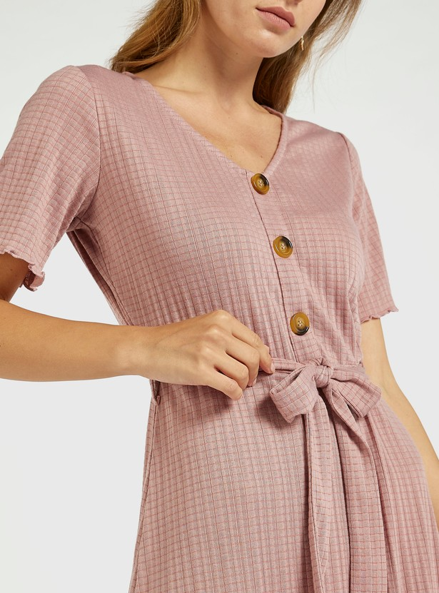 Textured Midi A-line Dress with Tie-Up Belt and Short Sleeves