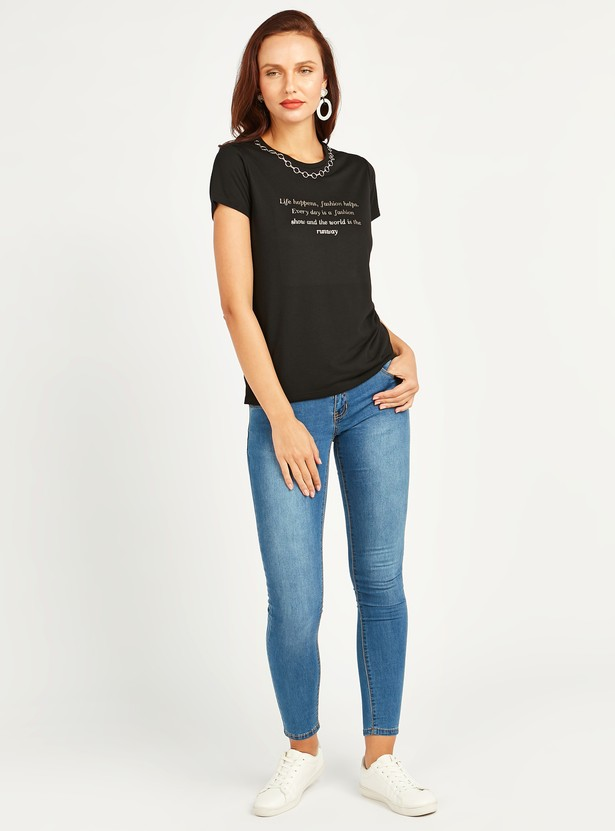 Foil Print T-shirt with Round Neck and Embellishments