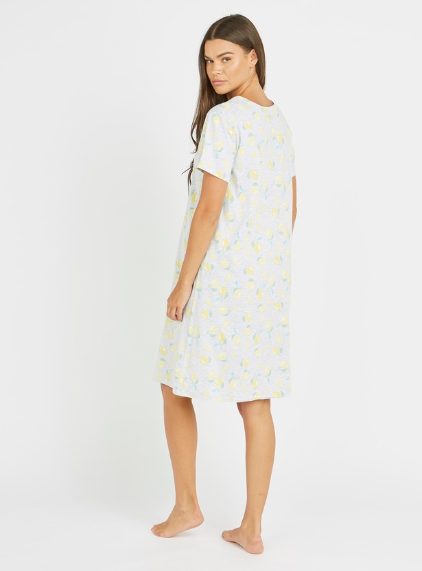 Maternity All Over Printed Sleep Dress with Round Neck