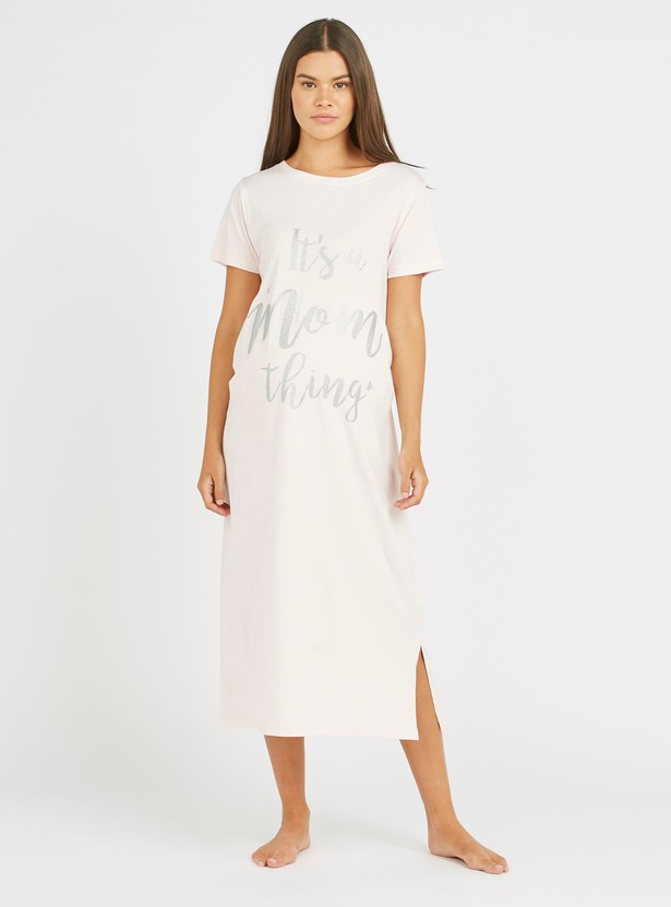 Maternity Typographic Print Sleep Dress with Round Neck