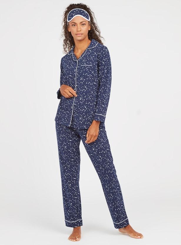Constellation Print 3-Piece Sleepwear Set with Eye Mask