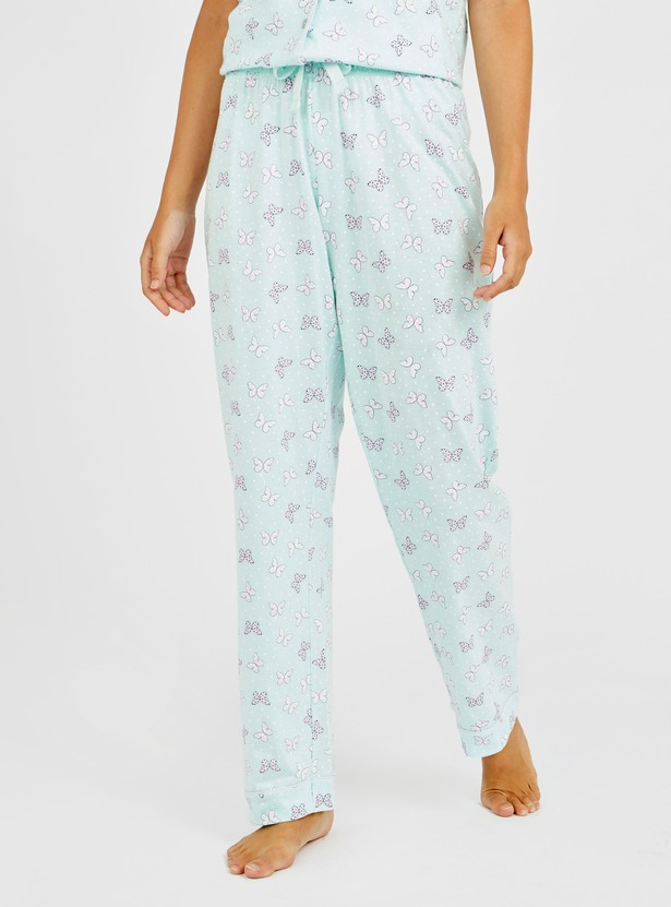 Butterfly Print 3-Piece Nightwear Set with Eye Mask