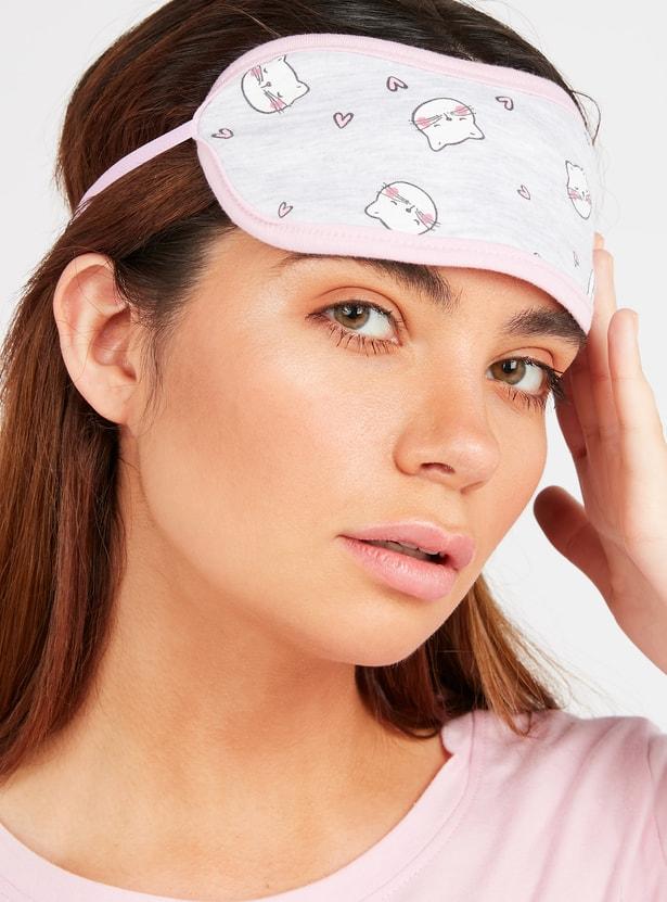 طقم ملابس نوم مع قناع عين على الوجهين بطبعات - 3 قطع