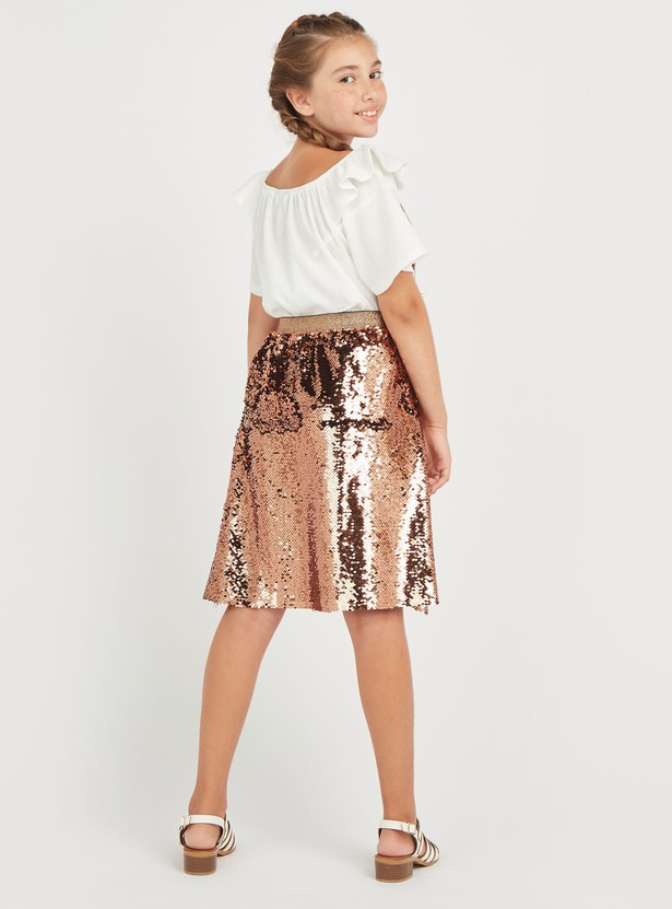 Ruffle Detail Solid Top with Sequin Detail Skirt