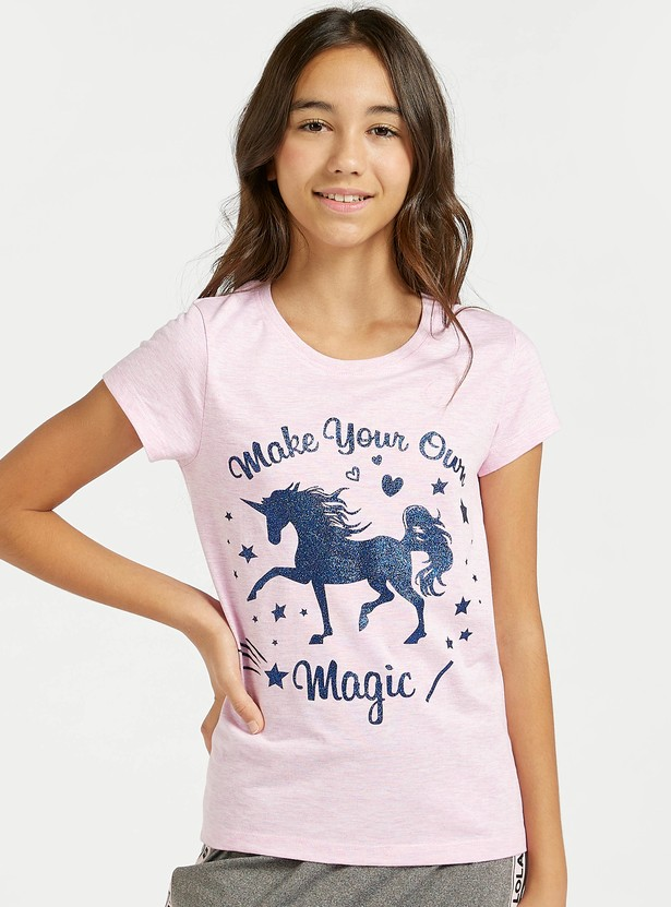 Unicorn Print T-shirt with Cap Sleeves and Round Neck