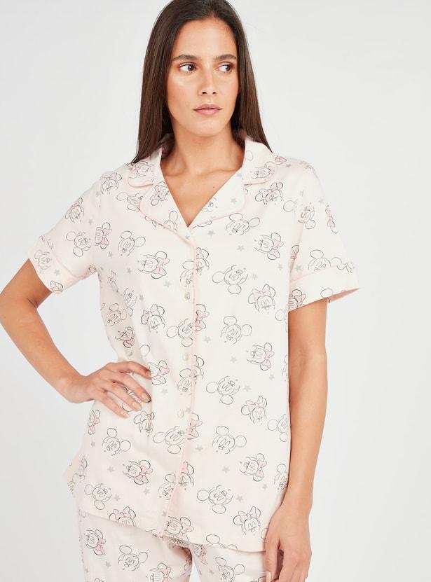 Mickey Mouse Print Shirt and Pyjamas Set