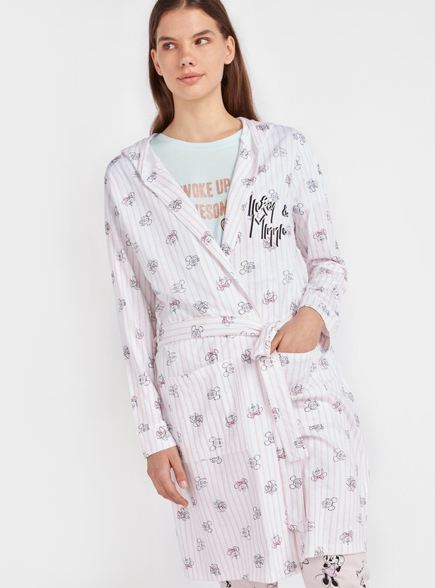 Mickey & Minnie Mouse Print Robe with Long Sleeves and Tie-Ups