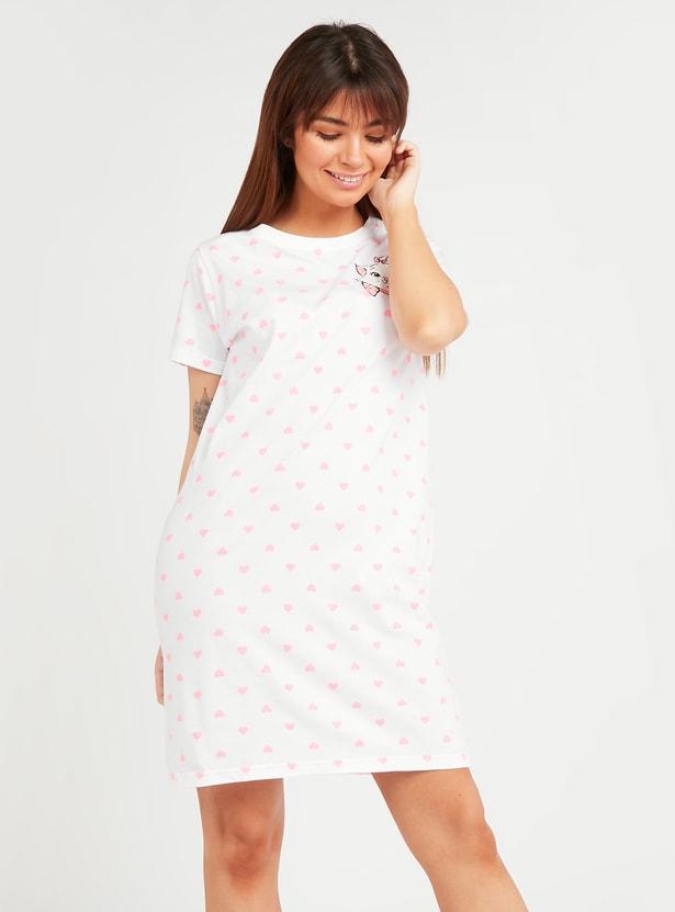 فستان نوم بطبعات ماري وأكمام قصيرة
