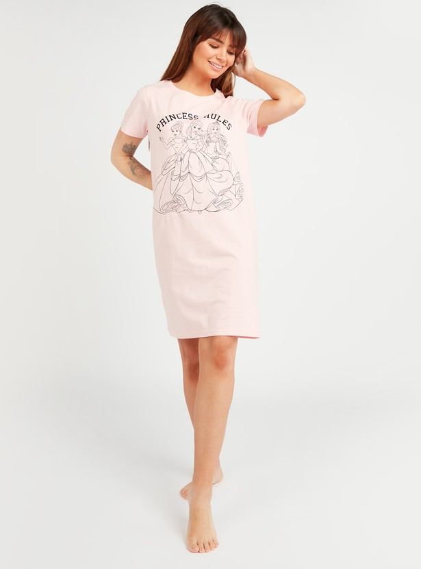 Princess Print Sleep Dress with Round Neck and Short Sleeves