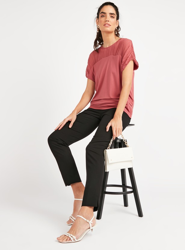 Ruffled Top with Round Neck and Extended Sleeves