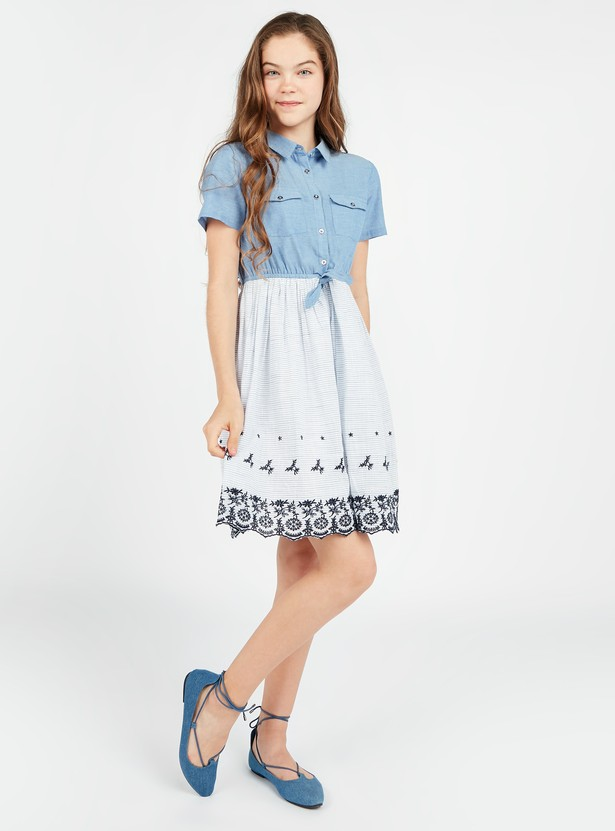 Textured Dress with Spread Collar and Knot Detail