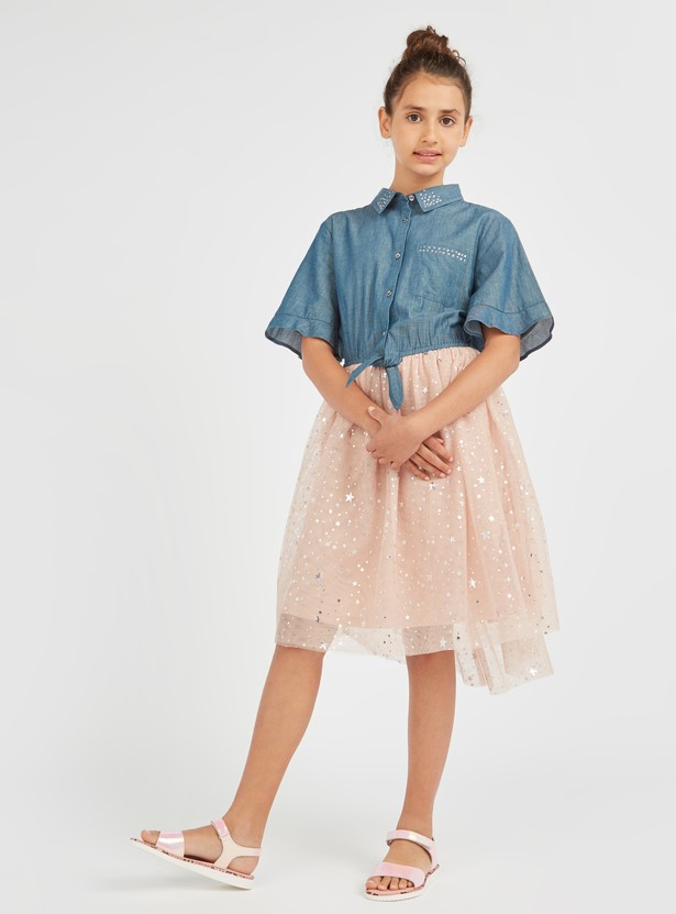 Embellished Dress with Spread Collar and Flared Sleeves