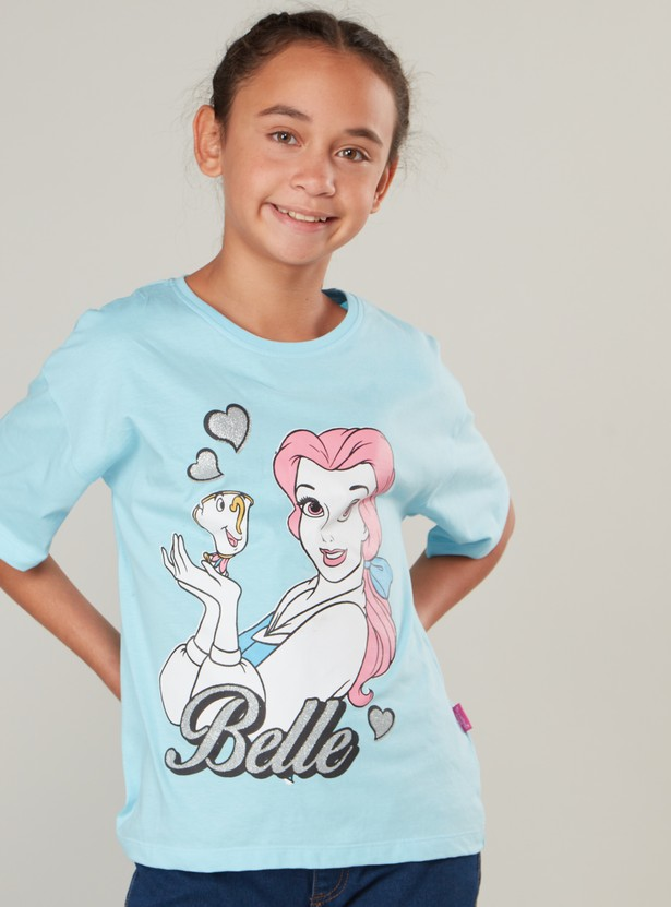 Belle Print T-shirt with Round Neck and Short Sleeves