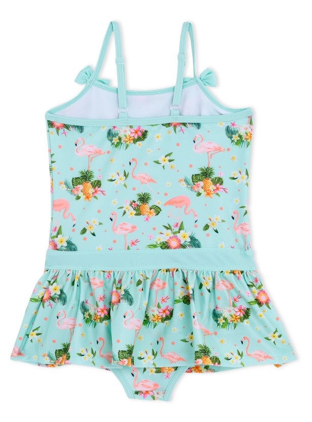 Floral Print Swimsuit with Bow Appliques