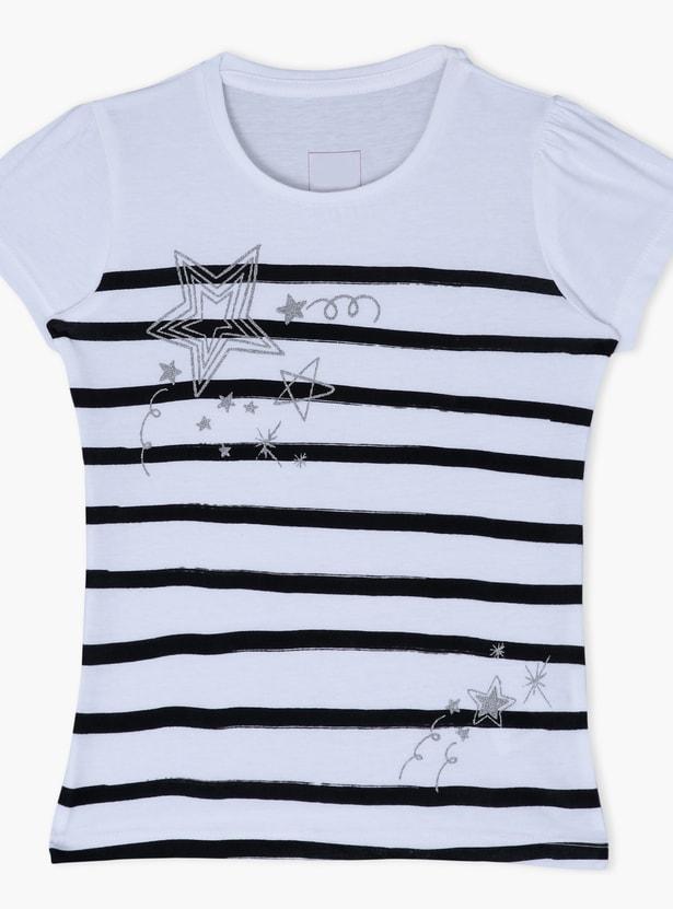 Striped Round Neck Short Sleeves T-Shirt