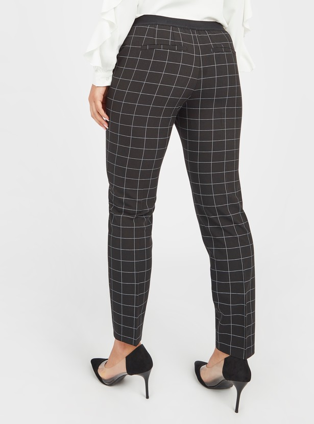 Checked Trousers with Pocket Detail and Elasticised Waistband