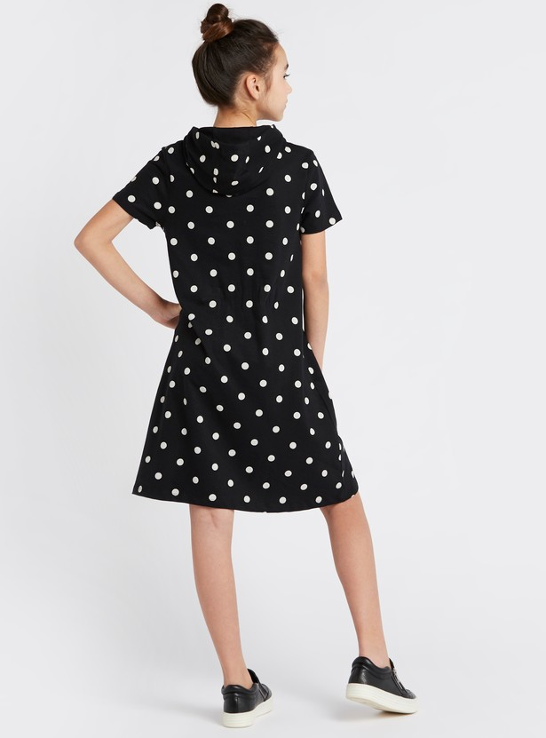 Snoopy Print Knee Length Dress with Short Sleeves and Polka Dots
