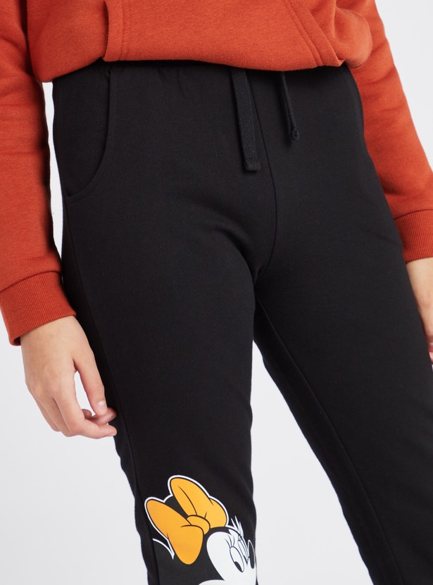 Minnie Mouse Print Joggers with Elasticated Drawstring Waistband