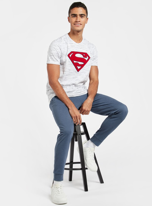 Superman Embroidered Injected T-shirt with Short Sleeves