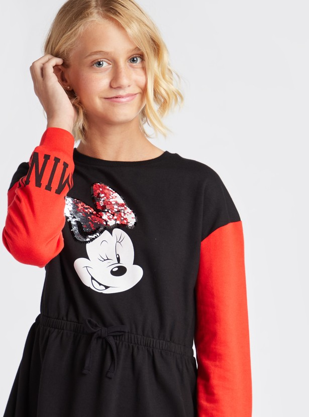 Minnie Mouse Sequin Embellished Round Neck Sweat Dress