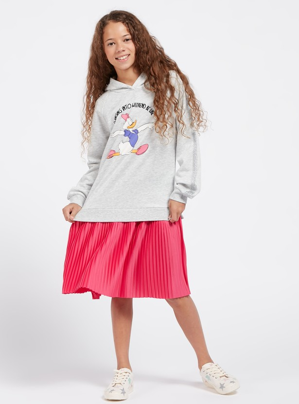 Daisy Duck Graphic Print Sweat Dress with Long Sleeves and Hood