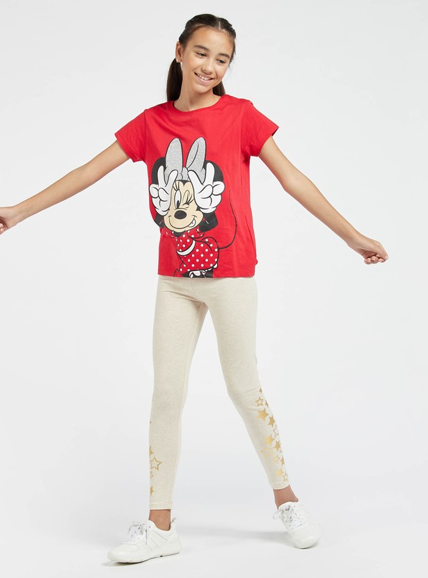 Minnie Mouse Graphic Print T-shirt with Round Neck and Short Sleeves