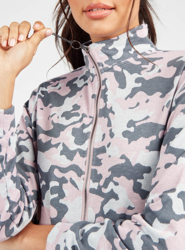 Camouflage  Print Bomber Jacket with High Neck and Long Sleeves
