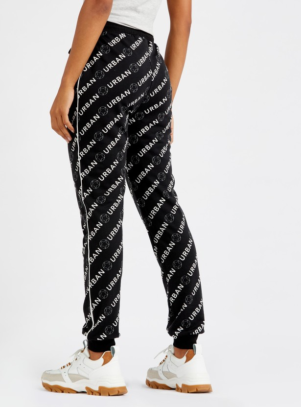 Full Length Printed Jog Pants with Side Tape Detail and Drawstring