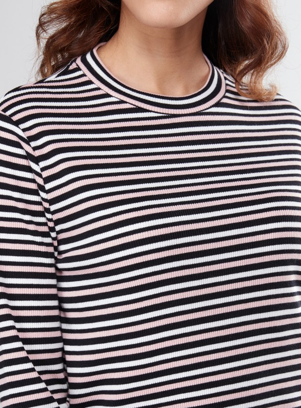 Striped Textured Round Neck Long Sleeves T-Shirt