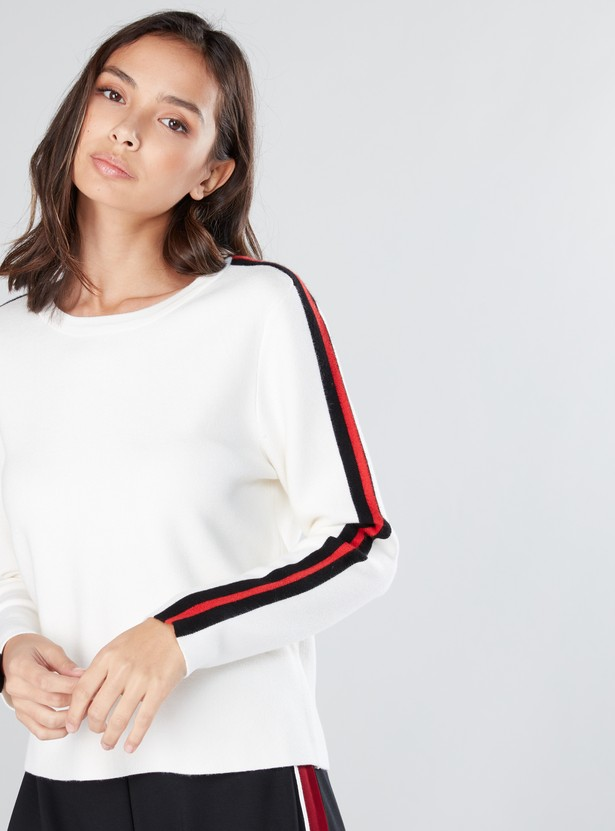 Stripe Detail Sweater with Round Neck and Long Sleeves